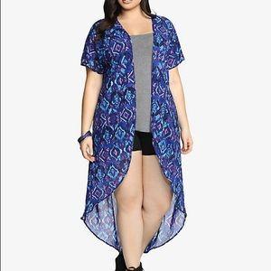 Torrid blue and purple sheer cardigan